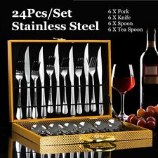Cutlery Set 24 Piece Stylish Kitchen Stainless Steel Tableware Dining Fork