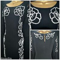 NEW PER UNA M&S SHIFT DRESS LBD CHIFFON BLACK WHITE SEQUIN FLORAL PARTY 8 - 20