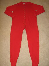 DUOFOLD Red 1pc Wool Blend Double Layer Union Suit Back Flap Mens XL