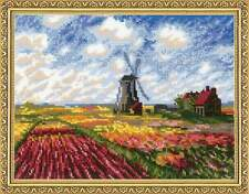 """Counted Cross Stitch Kit Riolis - """"Tulip Fields after C. Monet's Painting"""""""
