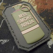 M18 SMOKE NINJA TACTICAL COMBAT BADGE MILITARY MORALE PVC OD GREEN HOOK PATCH