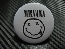 NIRVANA WHITE+BLACK SIGN SYMBOL PIN PINBACK BUTTON BADGE B003