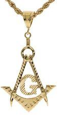 "Extra LARGE Masonic Pendant 22"" 5 mm French Rope Chain 18K Gold Overlay B16"