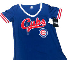 Chicago Cubs Womans Shirt Top NWT Size Medium  New Era V-Neck Tee Royal Red Sale