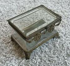 alte Schmuckschatulle mit Jugendstil Ornamentik - kl. verglaste Miniatur-Vitrine