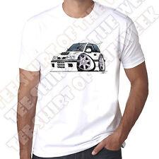 WickedArtz Cartoon Car White Nissan Sunny GTI-R 100% Cotton White T-shirt