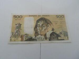 billet 500 francs pascal 1989 j.287