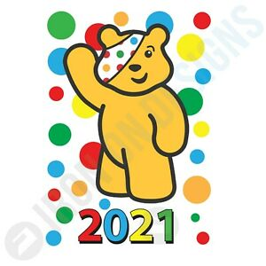 CHILDREN IN NEED SPOTS WAVING PUDSEY YEAR - IRON ON TSHIRT TRANSFERS - A6 A5 A4