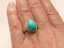 14K YG Absolutely Gorgeous Sleeping Beauty Turquoise And Diamond Ring, sz 6.5