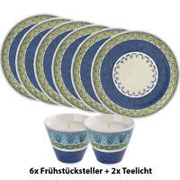 VILLEROY & BOCH 6er Set Casale Blu Alda Frühstücksteller 22cm inkl. 2x Teelicht