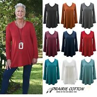 PRAIRIE COTTON USA 9602 SHIRTTAIL HEM V-Neck TUNIC Long Top  S M L XL  FALL 2017