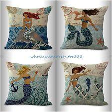 US SELLER-4pcs pillow throw covers cushion covers mermaid ocean nautical