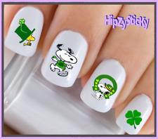 24 Nail Decals #7511 St Patricks Irish Clover Dog Waterslide Nail Art Transfers