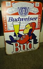 BUDWEISER ANHEUSER BUSH BEER BUD MAN GENUINE LAGER METAL SIGN BAR MAN CAVE...