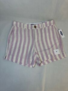 """Old Navy Pink White Striped Linen Blend Shorts 5"""" Inseam Everyday Short Size 0"""