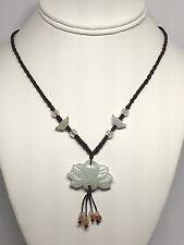 Lotus Flower Necklace Jadeite Jade Multicolored Gemstone
