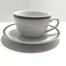 "Vtg Williams-Sonoma Brasserie Green OVERSIZE 16 Oz Coffee Cup 7.50"" Saucer Japan"
