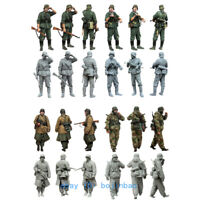 1/35 Scale WWII Soldier Unpainted Resin Figure Model Kits 4Pcs Warrior Team New