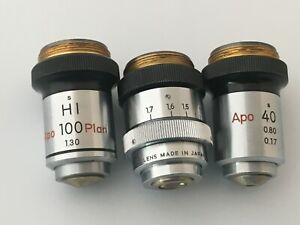 Lot of (3) Nikon Microscope Objectives HI 100 Plan 1.40 - Apo 40 - L40 w/ collar
