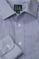 Jos A Bank Men's Travelers Purple White Stripe Cotton Dress Shirt 16 x 33