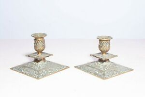 Pair of Antique 19th Century Victorian Brass Short Squat Candlestick Holders