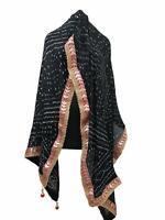 Dupatta Women Bandhani Art Silk Bandhej Indian Stole Gota Patti Black Chunni
