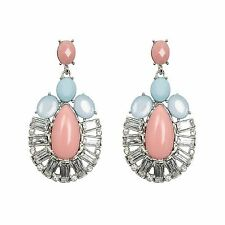 Silver Crystal Chandelier Earrings Pink Blue Oval Dangle Drop Womens Jewellery