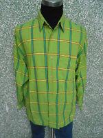 180 109 SIGNUM Camisa Informal Talla M Kiwi verde rojo de cuadros manga larga