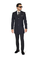 Slim Fit Mens Long Wool Blend Top Trench Overcoat Single Breast Notch Lapel AZAR