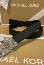 Michael Kors Womens Belt Reversible MK Logo W/Silver Buckle Size L  New