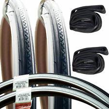 """2 x White Wall Retro Bike Tyres 27 x 1 1/4""""  + 2 Tubes - Vintage Whitewall Tyres"""