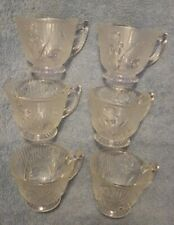 """Jeanette Glass Co. Crystal """"Iris & Herring Bone """" Set of 6 Cups Depression /Used"""