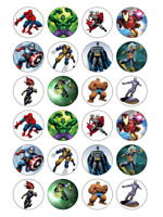 24 x Avengers Marvel Edible Cupcake Toppers Birthday Party Cake Decoration