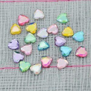 100Pcs 8mm AB Color Heart Shape Acrylic Flatback Rhinestones on Craft/Clothes