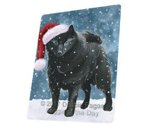 Let it Snow Christmas Schipperke Dog Tempered Cutting Board Large Db28