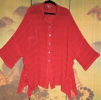 "SAHARA O/S Red Shirt 70+""Bust WIDE FIT Crinkle Self-Stripe Tunic Gauzy Blouse😊"