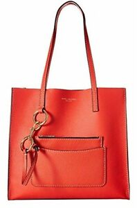 Marc Jacobs Tote The Bold Grind Poppy Red Leather Top-Handle Bag w/Zip Pouch NWT