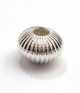 14 PCS 14X9MM CORRUGATED RONDELLE BEAD STERLING SILVER PLATED 729 UFL-422