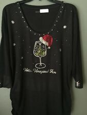Christmas Wine Glass W/ Christmas tree  or snowman  Custom wording. New Design