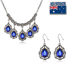 Classic Platinum Plated Blue Tear Drop Crystal Necklace And Earrings Set Party