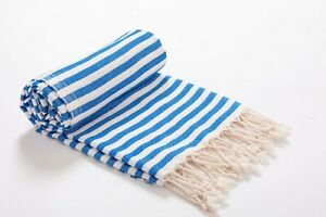 Striped Premium Beach Towel Blue, 100% Cotton Soft Quick Dry Turkish Bath Towel