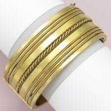 "Antique Victorian 14k Solid Gold Etruscan Revival 1"" Wide Cuff 36gr Bracelet"
