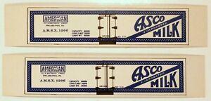 ASCO Milk / HO Cardboard Advertising Billboard Sides for Freight Cars