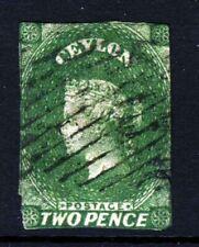 CEYLON Queen Victoria 1857 2d. Green Watermark Star SG 3 or SG 20 VFU