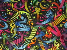 MODERN MUSIC NOTES SWIRLS STARS BRIGHT COLORS COTTON FABRIC FQ