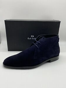 Paul Smith Men's Arni Chukka Ankle Boots In Dark Navy Soft Suede Size UK 9