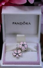 Authentic Pandora Pink Cherry Blossom Clip and Dangle 2 Pcs Charm Set