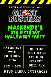 Personalised Ghostbusters Birthday Party Invites Including Envelopes GB2