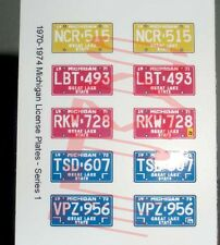 1970 - 1974 MICHIGAN miniature LICENSE PLATES for 1/25 scale MODEL CARS