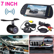 "7"" HD Bluetooth MP5 Car Rearview Mirror Monitor +Wireless Parking Backup Camera"
